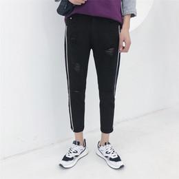 Wholesale Black White Striped Jeans - 2018 Spring New Korean Men's Fashion Holes Stripe Cowboy Pants Tide Self-cultivation Casual Solid Color Jeans Trousers M-5XL