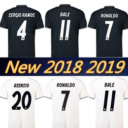 Wholesale ramos shirts - Real madrid 2019 RONALDO ASENSIO BALE ISCO Home away soccer jersey RAMOS BENZEMA shirt 2018 Camiseta real madrid football kit jerseys