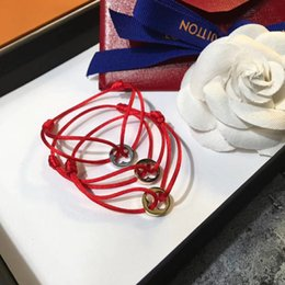Wholesale Top Pendants - Famous brand name Top quality bracelet with lucky round pendant and rope for women and man jewelry gift free shipping PS6279