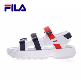 Wholesale open hooks - 2018 new arrivel fila summer men blue white red Sandals Anti-slipping Quick-drying Outdoor Sandals Soft Water Shoes Beach Sandals
