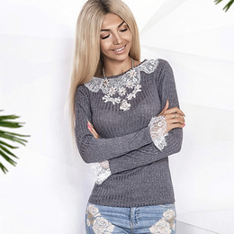 Wholesale Gray Lace Sweater - OYDDUP 2017 autumn new white lace patchwork sweater solid color O-neck long sleeves computer knitting Slim pullover clothing