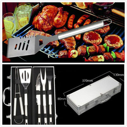 Wholesale Portable Steel Charcoal Bbq Grill - Portable Stainless Steel Outdoor Roast Fish Cooking BBQ Utensil Grill Set Kit with Carry Bag Travel Picnics Accessories Tools