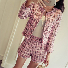 f539f929256a 2018 Autumn Winter Tweed 2 Piece Set Women Slim Plaid Short Set Fashion  Fringed Trim Jacket Coat + Tassels Short Suit