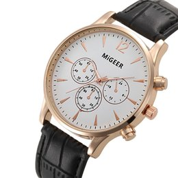 Wholesale Wholesale Faux Crocodile Leather - Luxury MiGEER Crocodile Gold Watches Men Top Brand Luxury Faux Leather Mens Analog Watch Wrist Watches Relogio Masculino