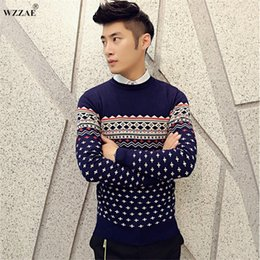Wholesale trendy winter sweaters - WZZAE Top Quality Double Thick Warm Mens Sweaters 2016 Winter Brand New Stylish Trendy Pullover Men Christmas Sweater Size:M-XXL