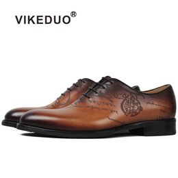 Wholesale Paint For Shoes - VIKEDUO Hot Brand Luxury Male Genuine Leather Shoe Hand Painting Upscale Wedding Dance Dress Shoes Footwear For Men Oxford Shoes