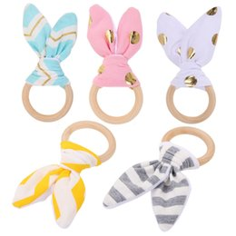Wholesale Pc Intelligence - Wholesale- 1 Pc Baby Toy Soft Little Rabbit Ears Wooden Hand Grasp Toy Rattles Develop Baby Intelligence Baby Grasping Toy