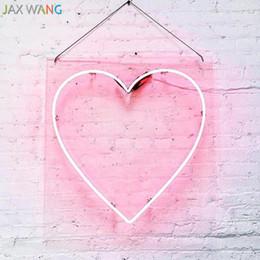 la forma del cuore ha condotto le luci dentellare Sconti Led Ins puntelli luci Negozio di abbigliamento Studio decor luci notturne neon rosa ragazza cuore forma Ciao illuminatori di luci al neon