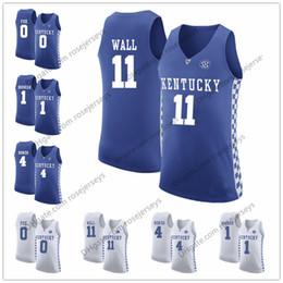 04cc5886a9f0 NCAA Kentucky Wildcats  11 John Wall 0 De Aaron Fox 1 Devin Booker 4 Rajon  Rondo royal blue white stitched College Basketball Jerseys S-3XL