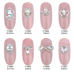 Wholesale Quality 3d Glasses - 50pcs Glitter glass gems 3d nail jewelry bows strass Rhinestones nail art decorations DIY top quality alloy nail charms manufacture supplies