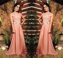 Wholesale Gold Belted Evening Gowns - Peach A Line Chiffon Off Shoulders Prom Dresses Lace Beaded Long Sweep Train Evening Gowns With Sash Belt Cheap Formal Party Wear