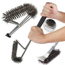 Wholesale Galvanizing Steel - BBQ Tools Cleaning Brush Oven Barbecue Brushes 18'' Stainless Steel Wire Oven Grill Cleaner Brush Roaster