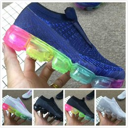 Wholesale toddler trainers - Laceless vapormax 2018 Platinum Kids running shoes Grey white Rainbow Infant & Children Sports shoes toddler trainer boy & girl sneaker