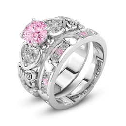 Wholesale Pink Cubic Zirconia Heart Ring - Victoria Wieck Couple Rings For Her Luxury Jewelry 925 Sterling Silver Filled Pink Sapphire CZ Diamond Women Wedding Bridal Ring Set Gift