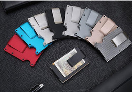 Wholesale Woman Slim Card Holder - Slim Metal Credit Card Holder With RFID Anti-chief Travel Mini Wallet For Men Women Card holder 6 colors DHL free ship