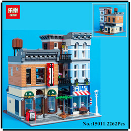Wholesale office city - IN STOCK Lepin 15011 2262Pcs Creator Expert City Street Detective's office Avengers Set Assemble Building Blocks Children Toys