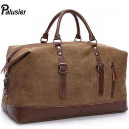 b7caf5b70558 Casual Fashion Canvas Leather Men Large Capacity Travel Bag Weekend Carry  On Luggage Brown Handbag Shoulder Male Duffel Bag