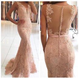 b8e111126083 Sexy V Neckline Illusion Back Mermaid Evening Dress 2019 vestidos de fiesta  largos elegantes de gala Lace Long Prom Dresses