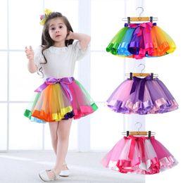 Wholesale kids rainbow gown - Baby Girls Rainbow Tutu Skirts Fluffy Kids Ballet Pettiskirt Princess Tulle Skirt Mini Dress Party Skirt Ball Gown Petti Skirt CPA1003