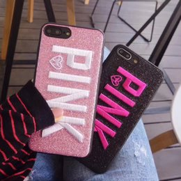 Wholesale bling phone designs - Wholesale For iphoneX Cell phone Case Pink letter Fashion Design Glitter cases Love 3D Embroidery Pink bling COVER CASE For iPhone 8 7