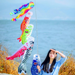 Wholesale Fish Party Decorations - New Arrival Fish Wind Streamer For Wedding Party Decorations Japanese Style Carp Winds Sock Flag Polyester Windsock Koinobori Banner 8xm3 B