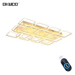 Wholesale Modern Square Ceiling Lights - Square LED Modern Ceiling Lights Fixtures For Living Room Aluminum White Lamp Bedroom Touch Remote Control Dimmable Restaurant