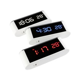 Wholesale Plastic Mirror Squares - HD digital display LED mirror alarm clock with touch button Brightness adjustable clock Electronic thermometer alarm clock 0703215