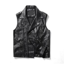 Wholesale Sleeveless Leather Jacket Mens - Black Leather Vest Men Turn-down Collar Hip Pop PU Leather Vest Male Zipper Mens Sleeveless Jacket Veste Punk