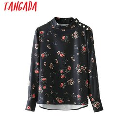 Wholesale Korean Black Long Blouse - Tangada Fashion 2018 Spring Vintage Flower Women Shirts Long Sleeve Pearl Blouse Korean Style Office Ladies Blusas FH49