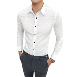Простые простые длинные блузки онлайн-Hot Sale Business Men Shirt  Slim Fit Casual Solid Social Shirts Dress Mens Long Sleeve Simple Formal Wear Tuxedo Blouses