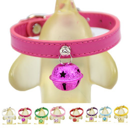 Wholesale kitten collars bells - 1Pcs Adjustable PU leather Dog Collar Cat Pet Cute With Bell no sound Puppy Kitten Collar dog leather for small animals