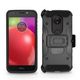 Hardclip holster online-Schwere Rüstung Hard Case für LG Stylo 4 Motorola MOTO E5 spielen E5 plus Telefon Fall + Gürtelclip Holster Ständer TPU + PC Stoßfest