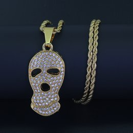 Wholesale Ghost Pendants - New 24inch Stainless Steel chain Hip Hop Skull Skeleton Ghost Pendant Necklace Jewelry N879
