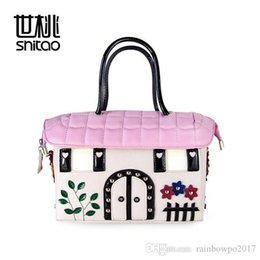 Wholesale Quality Taste - Sweet flower house handbag handmade three-dimensional flower woman handbag bag house garden Taste Quality Leather Handbag Pink tide