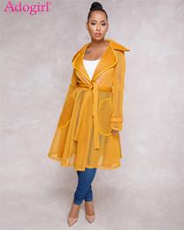 Adogirl Сексуальная Sheer сетки длинные пальто с поясом отложным воротником полный рукав карманы мода пальто платье повседневная верхняя одежда от