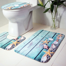 Wholesale ocean stock - Bath Mats Ocean Underwater World Anti Slip Bathroom Mat Set Coral Fleece Floor Bath Mats Washable Bathroom Toilet Rugs 3 pcs