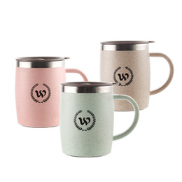 Wholesale Travel Mugs Handles - 420ML Water Cup Stainless Steel Coffee Tea Mug Beer Milk Drinking Cups Travel Camping Party Mugs With Handle Lid Free DHL WX9-427