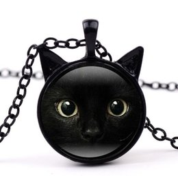 Wholesale Black Glass Paint - DHL Painting Black Cat Necklace for Pet Lovers Cat Pendant with Two Ears Jewelry Glass Cabochon Girl's Gift for Her