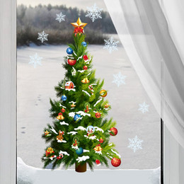 Wholesale snowflake vinyl window stickers - Removable Christmas Tree snowflake star sticker wall decal window mural decal home decor xmas decoration kids gift wallpaper