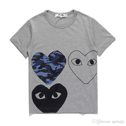 Wholesale Japanese Style T Shirt Men - 2018 New Style AAA Quality Gray Hot HOLIDAY Heart Emoji PLAY Japanese tide brand peach Unisex cotton t-shirt tee white lovers