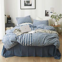 Mezcla de algodón grande y pequeño conjunto de cama a cuadros 4pcs Rey funda de edredón tamaño queen establece azul oscuro sábana ajustable solo 3 piezas de ropa de cama desde fabricantes