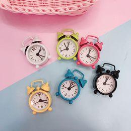 Wholesale Metal Clock Dials - Mini Candy Color Metal Alarm Clocks Table Desktop Dial Needle Clocks Function Cute Pocket Watches Portable