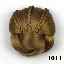 Clip fibre synthétique en Ligne-ZF Cheveux Synthétiques Tressé Chignon Haute Température Fiber De Beignet Rouleaux De Cheveux Clip Dans Hair Bun