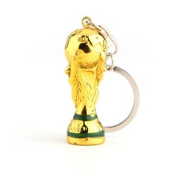 Wholesale european fan - European Champions Cup Keychain 2018 Russia World Cup Key Ring Gold Trophy LOGO FIFA Fans Souvenirs GGA277 600PCS