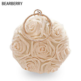 Bolsa em forma de rosa on-line-BEARBERRY 2017 new lace evening bags with chain luxury rose flowers round shaped wedding bags clutch purse drop shipping MN748