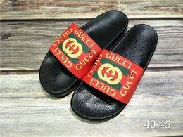taglia 44 sandali Sconti Pantofole di sandalo di gomma nera moda sandali Verde rosso bianco Stripe Fashion Design Uomo Classic Ladies Summer Flip Size EUR 40-45