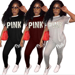 Wholesale Wholesale Printed Leggings - Pink Women Sportswear Suit Leggings T-Shirts Running Pullover Trousers Set Letter Print Short Sleeve Tracksuit Jogger Outfit GGA127 5sets