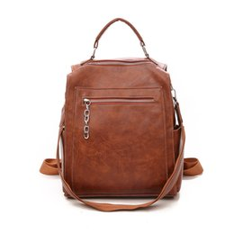 2019 sac à dos brun noir sac à dos en cuir de haute qualité femmes noir solide sac à dos vintage femme sac à dos sac à dos jeunesse brun sac à dos brun noir pas cher