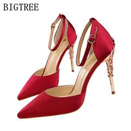 Wholesale flat metal hooks - OL escarpins sexy womens super red high heels sandals pointed toe lolita shoes bigtree shoe set silk metal decoration pumps pink