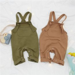 Wholesale Kids Overalls Pants - INS baby Boys suspender pants spring new children out wear casual overalls fashion toddler kids single pocket haroun pants Y4049